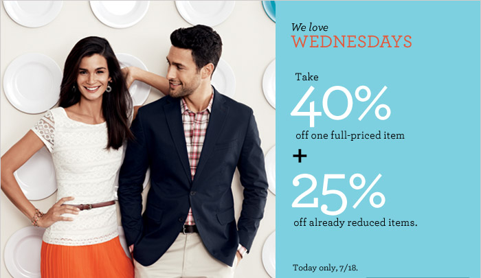 We love WEDNESDAYS | Take 40% off one full-priced item + 25% off already reduced items. Today only, 7/18.